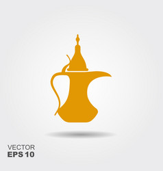 traditional arabic coffee pot flat icon vector image
