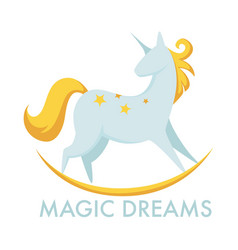 unicorn with wings and pink tail and mane vector image