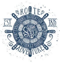 Vintage nautical sailing adventure badge vector