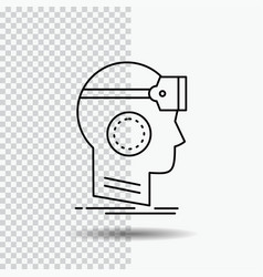 Vr googles headset reality virtual line icon on vector