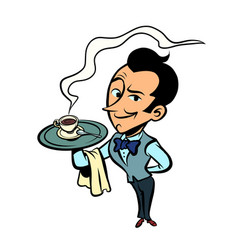 waiter with a cup coffee or tea vector image