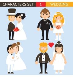 wedding characters set flat design icons vector image