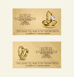 Wedding rings wed shop business card of vector