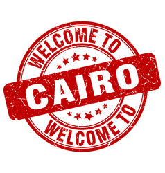 Welcome to cairo red round vintage stamp vector