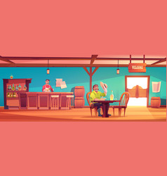 Western saloon with cowboy and barman vector