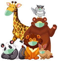 wild animals cartoon charater wearing mask vector image