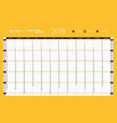 Yearly wall calendar planner template for 2019 vector
