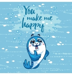 You make me happy card with cartoon baseal vector