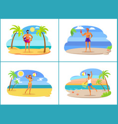 young people on hot tropical beach near sea set vector image