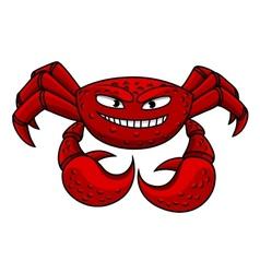 Cartoon red crab character vector image vector image