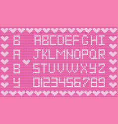 Knitted abc alphabet knitting pattern girl pink vector