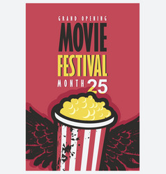 movie festival poster with popcorn bucket vector image vector image