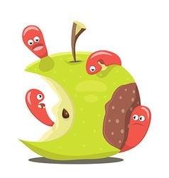 Worm eaten rotten apple vector image vector image