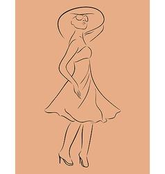 beautiful girl in dress sketch - vector image vector image