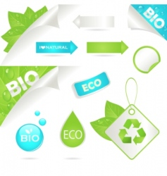 ecology labels and bio icons vector image