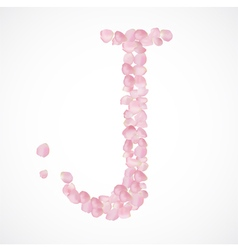 J letter Alphabet from pink petals of rose vector image