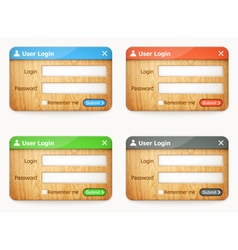 set of wooden login forms vector image