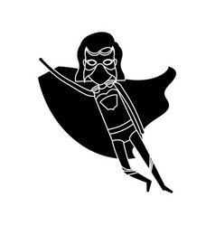 silhouette black front view superheroin woman to vector image