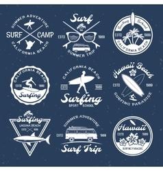Surfing Emblems On Dark vector image