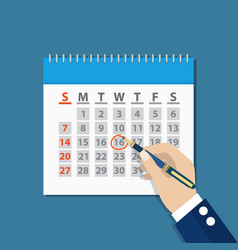businessman hand mark on the calendar by pen vector image vector image