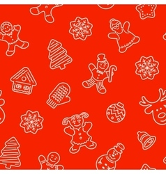 Christmas cookies flat line icons seamless pattern vector image