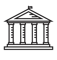 Education Temple Thin Line Icon vector image vector image