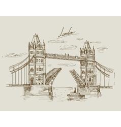 hand drawn Tower Bridge vector image
