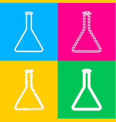 conical flask sign four styles of icon on four vector image