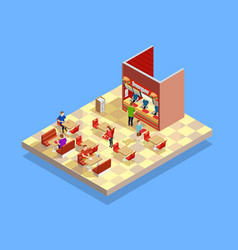 Food court counter area isometric composition vector