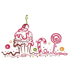 muffin cake sweets candy vector image vector image