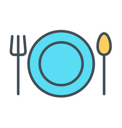 plate fork and spoon line icon restaurant vector image