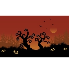 Scary halloween dry tree silhouette vector image vector image