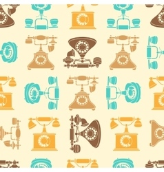 seamless pattern with vintage phone in vector image vector image