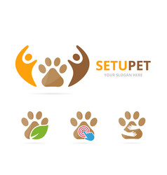 set of paw logo combination pet and family symbol vector image vector image