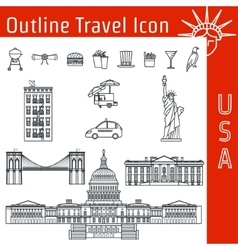 USA Icon Outline 1 vector image vector image