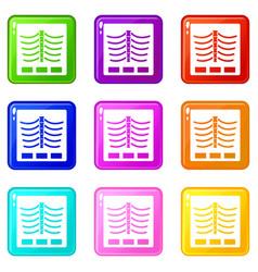 x ray photo icons 9 set vector image vector image