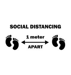1257 social distancing two footprints 1 meters vector image