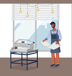 A man employee a printing house at work vector