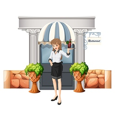 A waitress holding a tray in front of the vector