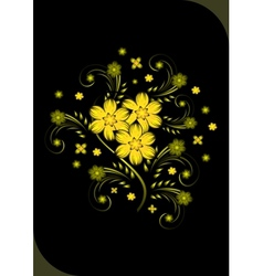 Abstract golden flowers on black background vector image