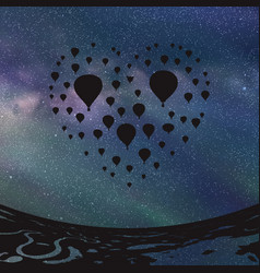 Air balloons in shape of heart at night vector