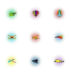 Aircraft icons set pop-art style vector image
