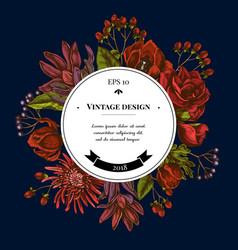 badge over design with viburnum hypericum tulip vector image