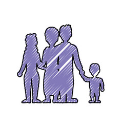 beautiful family silhouette vector image