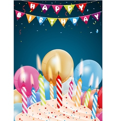Birthday background with colorful candle and light vector image