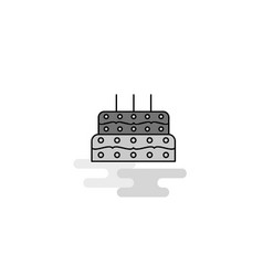 birthday cake web icon flat line filled gray icon vector image