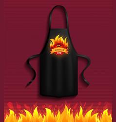 Black apron with bbq restaurant logo protective vector