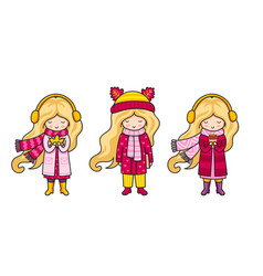 blonde girls in pink autumn coats vector image