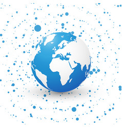 blue world globe on dotted background planet vector image