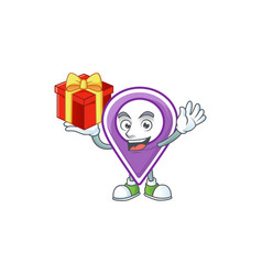Bring gift pin location cartoon on white vector